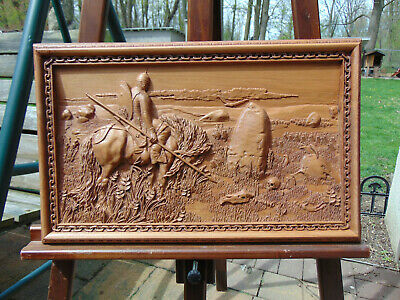 Ilia Muromets and the stone  of  fate.Wood ,sculpture, carving baso  relief.