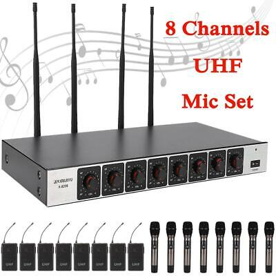8 Channel Wireless Microphone Handheld Lavalier Lapel MIC Transmitter Receiver