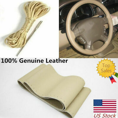 Hand Sew Leather Steering Wheel Cover Fit for Ford F-250/350/450/550  Super Duty