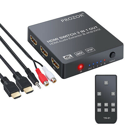 3 port HDMI Switch Audio Extractor Converter Analog Optical Toslink SPDIF Output