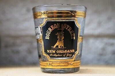 Bourbon Street New Orleans Birthplace Of Jaff 22K Gold Shot Glass By Culver!
