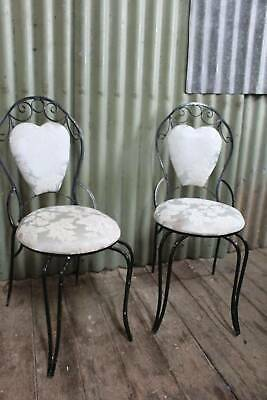 A Vintage French Upholstered Wrought Iron Chair - Two Chairs Available