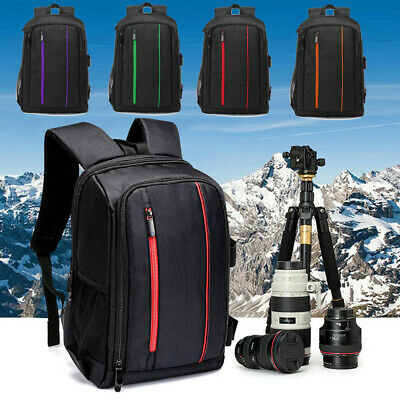Large DSLR Camera Backpack Waterproof For Canon Laptop Lens Case Shoulder