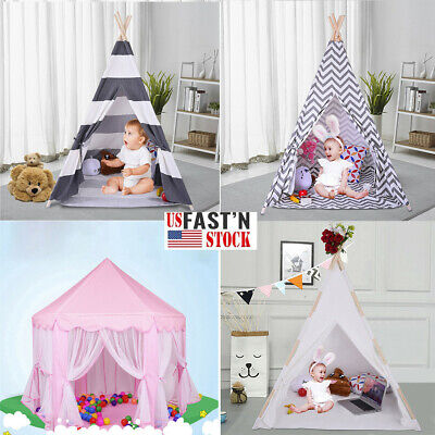 Portable Playhouse Sleeping Dome Indian Teepee Tent Children Play House White