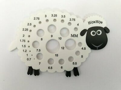1 x HiyaHiya sheep knitting needle gauge with US and mm sizes from 0.7 to 15mm