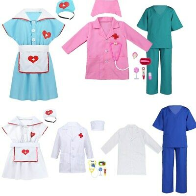 Unisex Kids Doctor Nurse Cosplay Costume Outfit Fancy Dress Halloween Party Wear