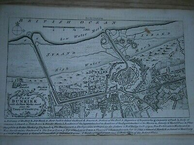 Original Antique map showing a plan of Dunkirk enraved in 1758