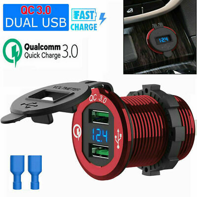 Dual USB 12V/24V Motorcycle Car Cigarette DIN Lighter Socket Charger LCD Display