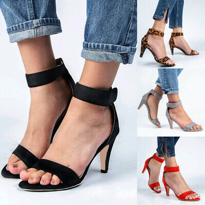 Womens Summer Ankle Strap Sandals Kitten Heels Evening Party Dress Shoes Size