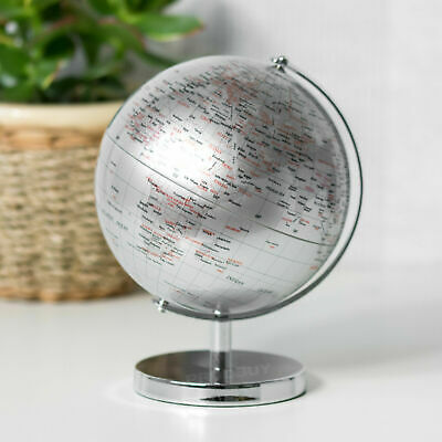 Silver Globe With Metal Stand Rotating Atlas Swivel World Ornament Home Decor