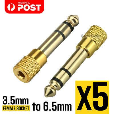 5pcs HIGH QUALITY 6.5mm Male to 3.5mm Female Aux Adapter Audio GOLD PREMIUM