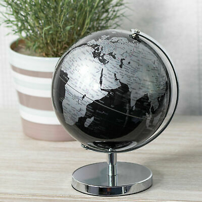 Black & Silver World Globe With Metal Stand Rotating Atlas Home Office Decor