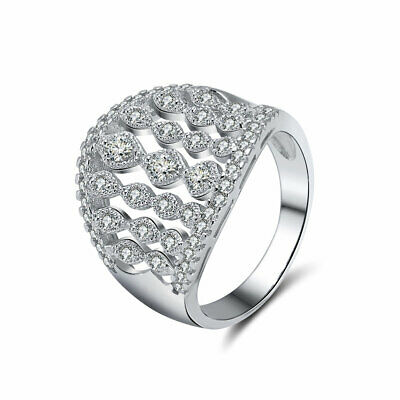 18MM Wide Band Round Cut AAA Cubic Zirconia Rings Women Jewelry Infinity Design
