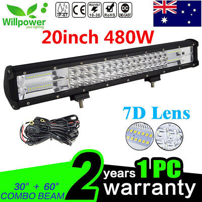 20inch 7D 480W Tri Rows Combo Beam SUV truck offroad car led light bar +Harness