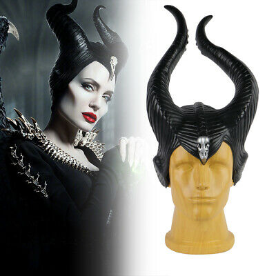 2019 Maleficent 2 Hat Evil Black Queen Deluxe Horns Headpiece Halloween Props