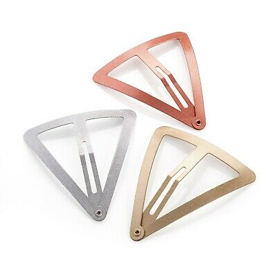 Pack of 3 Large Hair Clips Silver,Gold and Rose Gold Coloured Triangle Hair Clip
