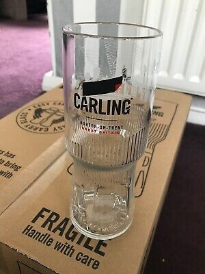 24 New Carling Pint Glasses Easy Carry 2019  Nucleated, Tempered And Stamped