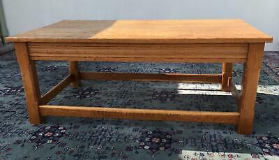 Oak Coffee Table with Adzed Top. Mouseman Style.