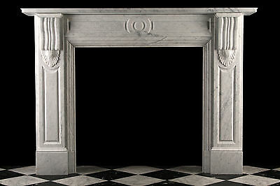Large Victorian Corbel Fireplace 1840 Style Carrara Marble with Panelled Columns