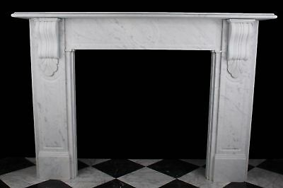Early Victorian Corbel Fireplace Surround in Carrara Marble with Fluted Panels