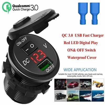 12V/24V QC3.0 USB Fast Charger Socket Outlet W/ On&Off Switch For Car Truck Boat