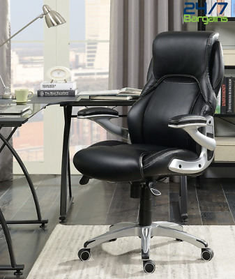 Black Bonded Leather Upholstered Managers Swivel Chair Height Adjustment Comfort