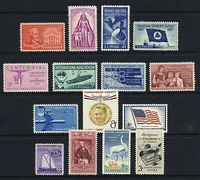 US, 1957 full Commemorative year set, sc 1086-99, C49, 15 stamps, MNH