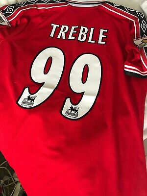 separation shoes 6f5b3 670f8 MANCHESTER UNITED SHIRT 1998 1999 Medium Retro Treble 1999 Fast Delivery  Jersey