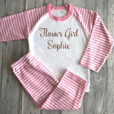 PERSONALISED FLOWER GIRL PYJAMAS, Wedding Pink White PJs Rose Gold Glitter Name