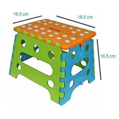 Kids Child Toddler Folding Step Foot Stool Plastic Foldable Chair Orange Handle