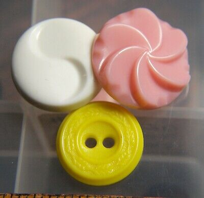 Vintage unconfirmed Colt Fire Arms Plastics Buttons pink yellow white