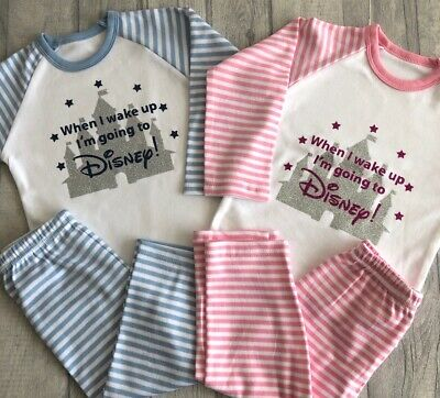 DISNEY PYJAMAS KEEPSAKE GIFT, Striped PJs Silver Glitter Castle When I wake up