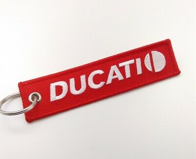 Motorcycle DUCATI Embroidered Keychain Motorbike Car Key Ring Fob Holder Tag