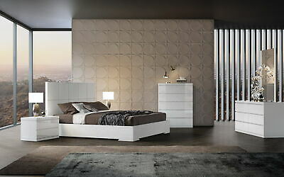 Bed King, Squares Design In Headboard, High Gloss White