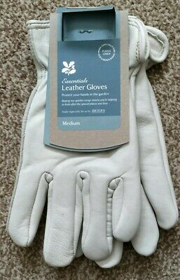 Briers Luxury Lined Cream Leather Hide Garden Gardening Gloves Medium Size