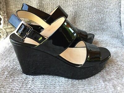 2456e634 PRADA BLACK PATENT Leather Platform Wedge Sandals Size 37