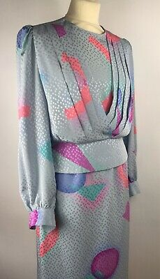 True Vintage Skirt & Blouse Combo Size 10/12 Button Back Shiny Pastels Fitted