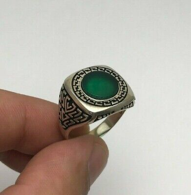 Turkish Jewelry Cool Oval Green Agate Nice 925K Sterling Silver Men's Ring