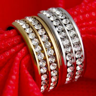 Unisex Womens Wedding Mens Rhinestone Stainless Steel Double Rows Band Ring
