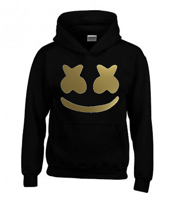 Marshmello Childrens Hoodie Inspired By Marshmello Black With Gold Edition