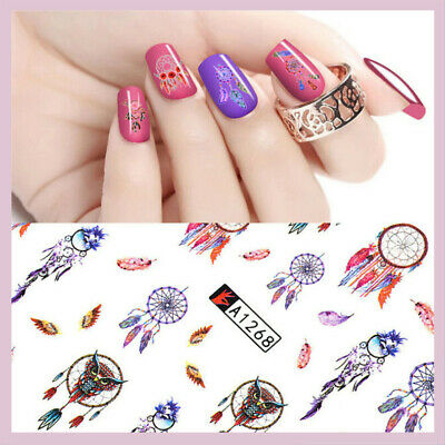 ❤️Lot 2 Planches Nail Art Stickers Attrape Rêves Plumes Bijoux Ongles Manucure