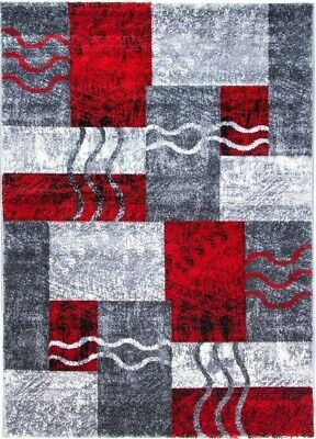 Large Small Grey Red Rugs Hallway Runners Modern Design Hand Carved Thick Soft