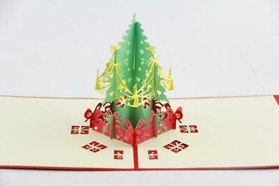 HOT 3D Christmas rings Handmade Holiday Greeting Cards Merry Christmas Night L32