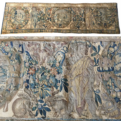 """RARE c.1600s Woven Flemish Tapestry 70"""" Long, 19"""" Wide, Figures, Putti, Rabbits"""