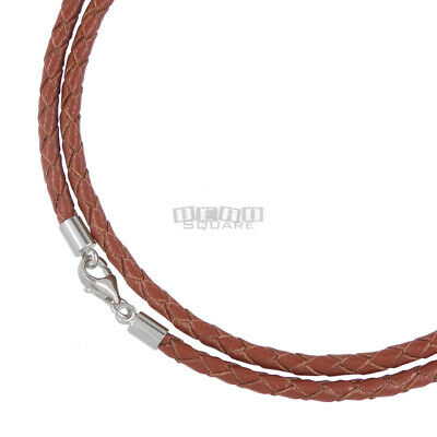 """25"""" Sterling Silver 3mm Round Brown Braided Genuine Leather Cord Necklace"""