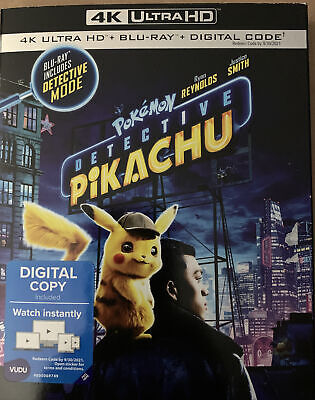 Pokémon Detective Pikachu(4K Ultra Hd+Blu-Ray+Digital Code)W/Slipcover New