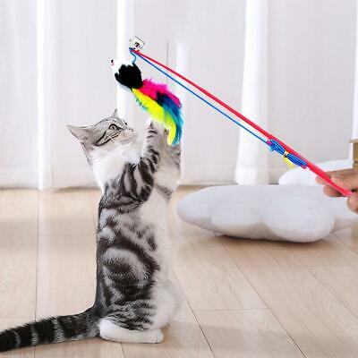 Cat Feather Mouse Stick Toy Funny Kitten Playing Rods Pet Interactive Toys