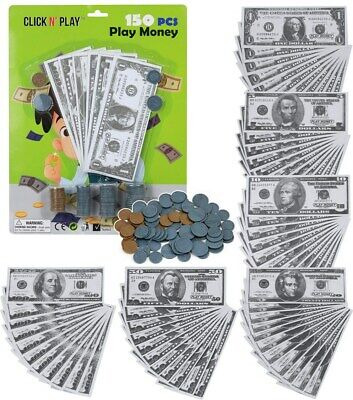 Click N' Play Pretend Play Money Realistic Bills & Coins Counting  150 Piece