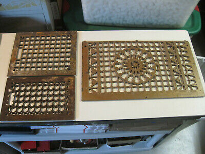 Antique cast iron wall floor heat grate vent 3 pieces architectural salage