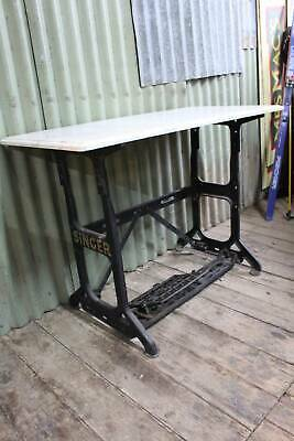 Large Old Industrial Singer Treadle Base - Table -  Marble Top in other Listing